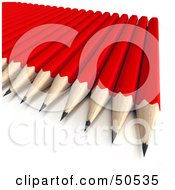 Royalty Free RF 3D Clipart Illustration Of Sharpened Red Pencils On A Surface by Frank Boston