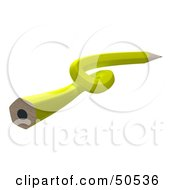 Royalty Free RF 3D Clipart Illustration Of A Knotted Yellow Lead Pencil by Frank Boston
