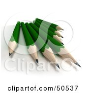 Royalty Free RF 3D Clipart Illustration Of A Group Of Sharp Green Pencils by Frank Boston
