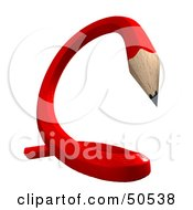 Royalty Free RF 3D Clipart Illustration Of A Red Twisty Pencil by Frank Boston