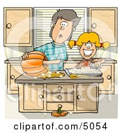 Brother And Sister Carving A Pumpkin In The Kitchen Clipart