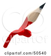 Royalty Free RF 3D Clipart Illustration Of A Knotted Red Lead Pencil by Frank Boston