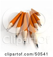 Royalty Free RF 3D Clipart Illustration Of A Group Of Sharp Orange Pencils by Frank Boston
