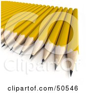 Royalty Free RF 3D Clipart Illustration Of Sharpened Yellow Pencils On A Surface by Frank Boston
