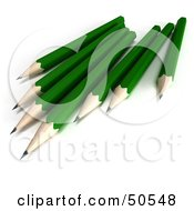 Royalty Free RF 3D Clipart Illustration Of A Group Of Sharpened Green Pencils by Frank Boston