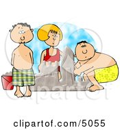 Boys And Girl Building A Sand Castle At The Beach Clipart by Dennis Cox