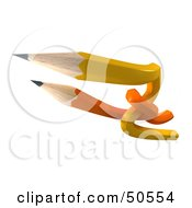 Royalty Free RF 3D Clipart Illustration Of Orange And Yellow Entwined Pencils by Frank Boston