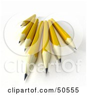 Royalty Free RF 3D Clipart Illustration Of A Group Of Sharp Yellow Pencils by Frank Boston