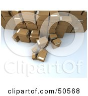 Royalty Free RF 3D Clipart Illustration Of A Group Of Prepared Shipping Boxes Version 4 by Frank Boston