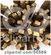 Royalty Free RF 3D Clipart Illustration Of An Aerial View Of Stacked Cardboard Boxes Version 1 by Frank Boston