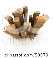 Royalty Free RF 3D Clipart Illustration Of A View Down On Stacked Shipping Boxes by Frank Boston