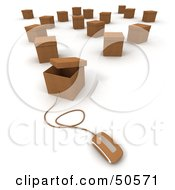Royalty Free RF 3D Clipart Illustration Of A Computer Mouse Connected To A Box Version 10 by Frank Boston
