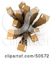 Royalty Free RF 3D Clipart Illustration Of An Aerial View Of Stacked Cardboard Boxes Version 3 by Frank Boston