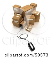 Royalty Free RF 3D Clipart Illustration Of A Computer Mouse Connected To Cardboard Boxes Version 2