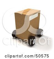 Royalty Free RF 3D Clipart Illustration Of A Cardboard Shipping Box On Wheels Version 1