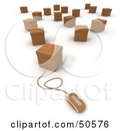 Royalty Free RF 3D Clipart Illustration Of A Computer Mouse Connected To A Box Version 11