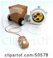 Royalty Free RF 3D Clipart Illustration Of A Wheeled Shipping Box With A Computer Mouse And Stop Watch
