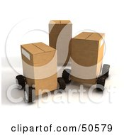 Royalty Free RF 3D Clipart Illustration Of Cardboard Shipping Boxes On Wheels Version 2