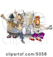 Rock And Roll Band Members Playing Music Clipart