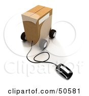 Royalty Free RF 3D Clipart Illustration Of A Computer Mouse Connected To A Parcel Version 4