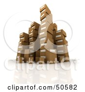 Royalty Free RF 3D Clipart Illustration Of Stacks Of Cardboard Boxes Angle 1 by Frank Boston