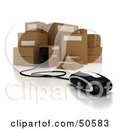 Royalty Free RF 3D Clipart Illustration Of A Computer Mouse Connected To Cardboard Boxes Version 1
