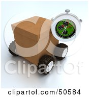 Royalty Free RF 3D Clipart Illustration Of A Stopwatch Resting Against A Shipping Box Version 3 by Frank Boston