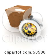 Royalty Free RF 3D Clipart Illustration Of A Stopwatch Resting Against A Shipping Box Version 1