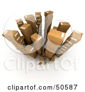 Royalty Free RF 3D Clipart Illustration Of An Aerial View Of Stacked Cardboard Boxes Version 4