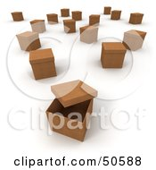 Royalty Free RF 3D Clipart Illustration Of Scattered Cardboard Boxes With Lids Version 1