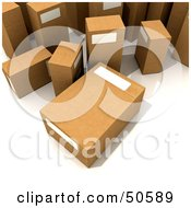 Royalty Free RF 3D Clipart Illustration Of Shipping Boxes With Blank Labels