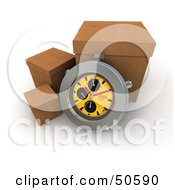 Royalty Free RF 3D Clipart Illustration Of A Stopwatch Resting Against A Shipping Box Version 4 by Frank Boston