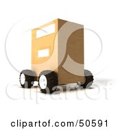 Royalty Free RF 3D Clipart Illustration Of A Cardboard Shipping Box On Wheels Version 3