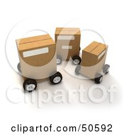 Royalty Free RF 3D Clipart Illustration Of Cardboard Shipping Boxes On Wheels Version 3