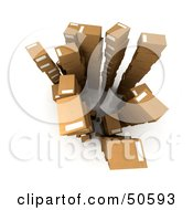 Royalty Free RF 3D Clipart Illustration Of An Aerial View Of Stacked Cardboard Boxes Version 2