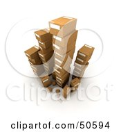 Royalty Free RF 3D Clipart Illustration Of Stacks Of Cardboard Boxes Angle 4