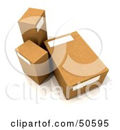 Royalty Free RF 3D Clipart Illustration Of Three Cardboard Boxes Angle 1