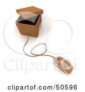 Royalty Free RF 3D Clipart Illustration Of A Computer Mouse Connected To A Box Version 4