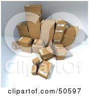 Royalty Free RF 3D Clipart Illustration Of A Group Of Prepared Shipping Boxes Version 6