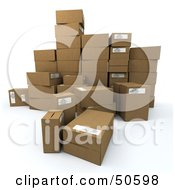 Royalty Free RF 3D Clipart Illustration Of A Group Of Prepared Shipping Boxes Version 5