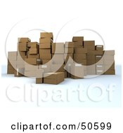 Royalty Free RF 3D Clipart Illustration Of A Group Of Prepared Shipping Boxes Version 7