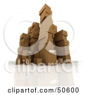 Royalty Free RF 3D Clipart Illustration Of Stacks Of Cardboard Boxes Angle 5 by Frank Boston