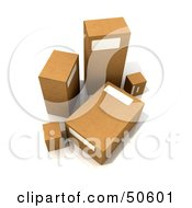 Royalty Free RF 3D Clipart Illustration Of Five Cardboard Boxes