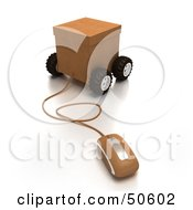 Royalty Free RF 3D Clipart Illustration Of A Computer Mouse Connected To A Parcel Version 5