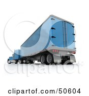 Royalty Free RF 3D Clipart Illustration Of A Blue Big Rig Truck Angle 2