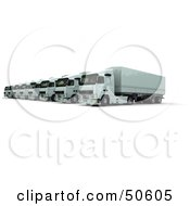 Royalty Free RF 3D Clipart Illustration Of A Row Of Parked Big Rigs In A Fleet