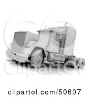 Royalty Free RF 3D Clipart Illustration Of A Parked White Big Rig