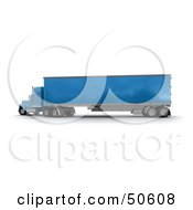 Royalty Free RF 3D Clipart Illustration Of A Blue Big Rig Truck Angle 6