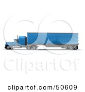 Royalty Free RF 3D Clipart Illustration Of A Blue Big Rig Truck Angle 3