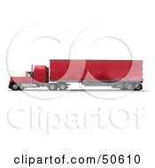 Royalty Free RF 3D Clipart Illustration Of A Red Big Rig Truck Angle 2